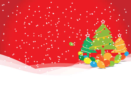 Christmas tree with balloons on red background, vector illustration   Vector