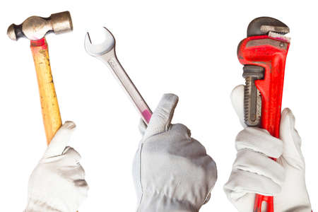 communication tools: Hand with tools