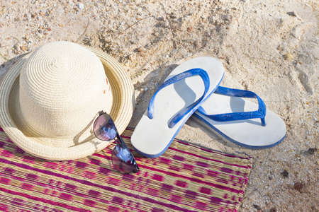 Summer concept with accessories on sand beach Stock Photo