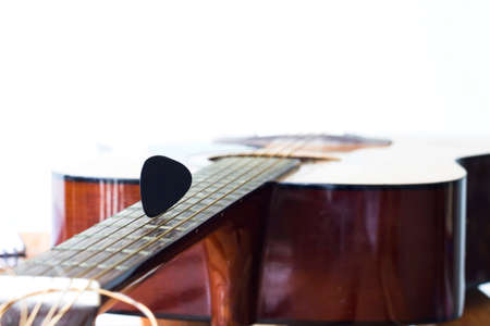 close up pick on guitar for create music
