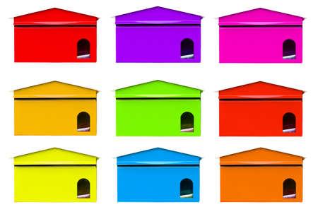 await: color full mailbox on white background