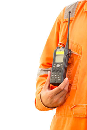 walkie talkie: Hand hold walkie talkie white background