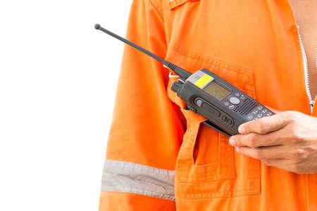 Hand hold walkie talkie white background photo