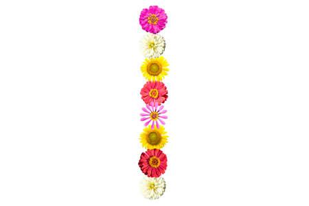 Letter I - flower isolated on white background, font Stock Photo