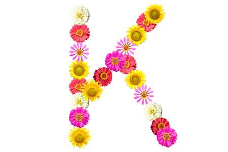 Letter K - flower isolated on white background, font Stock Photo