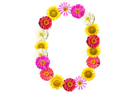 Letter O - flower isolated on white background, font