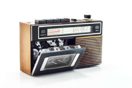 stereo cut: Retro radio and cassette player on table Stock Photo