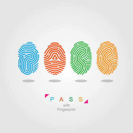 fingers: Pass with fingerprint  color vector illustration Illustration
