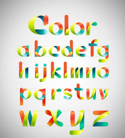 typeface: Ribbon alphabet colorful font, Lowercase a-z. Vector illustration.