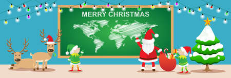 elfs: Merry Christmas banners.Cartoon styles with santa claus,elfs and reindeers work in christmas room.Vector illustration