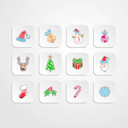 Set of ChristmasNew year icons.Color pencil drawing style.vector illustration Vector