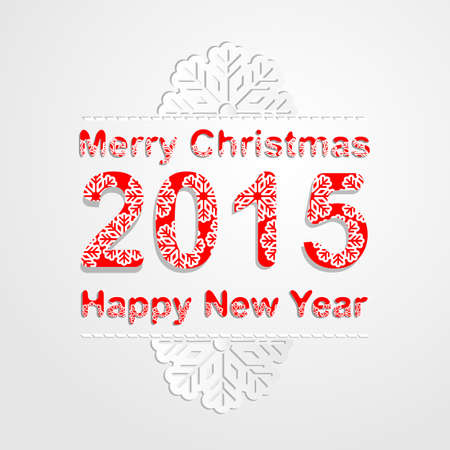 yea: Merry Christmas and happy new year 2015 background.Vector illustration. Snowflake pattern font
