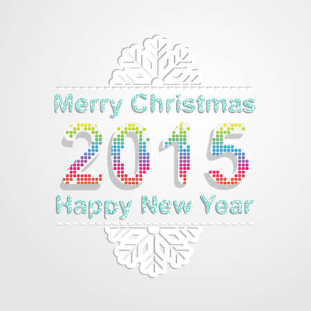 new yea: Merry Christmas and happy new year 2015 background.Vector illustration. Snowflake pattern font