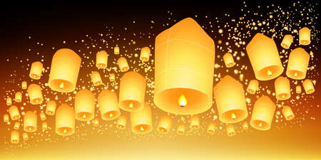 Thailand Sky lanterns festival,Loy Krathong and Yi Peng Festival.Vector illustration Illustration