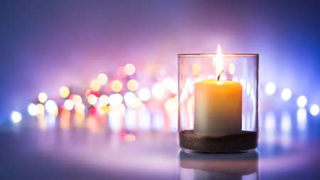 Romantic night with candlelight and bokeh background.New year or romantic valentine Day