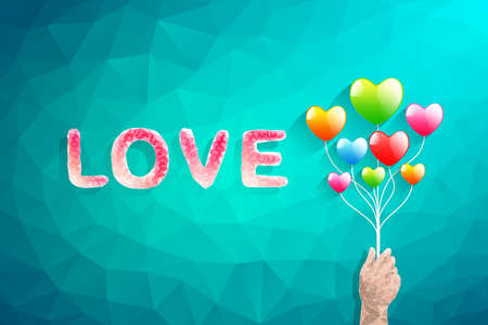 Heart balloon and Polygon hand.abstract love vector illustration Vector
