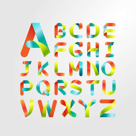 リボンのアルファベットとカラフルなフォント。大文字の A z までからを設定します。