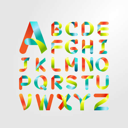 Ribbon alphabet and colorful font.Set of capital letter A to Z Vector