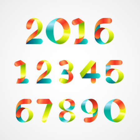Set of colorful ribbon font. Numbers 0 to 9 .Vector illustration Vector