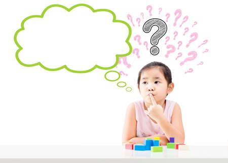 頭や白い背景に分離された空のバブルに疑問符を持つ少女を考えてください。