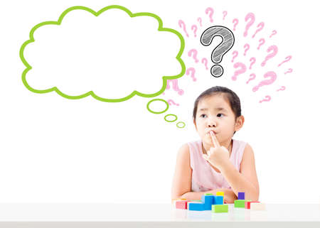 Thinking little girl with question mark over head and empty bubble isolated on white background