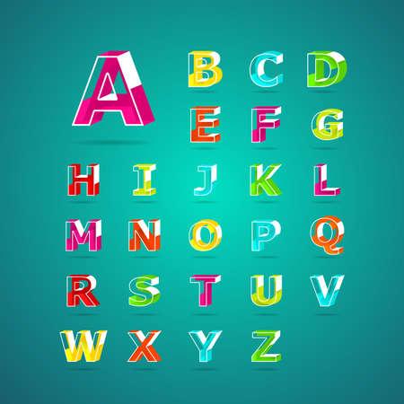abecedario: Letra del alfabeto isom�trica font.Capital la A a la Z