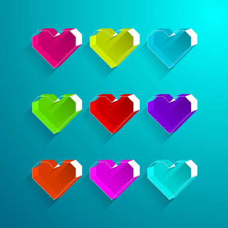 colorful heart: Colorful heart box style.Valentine heart symbol.vector illustration