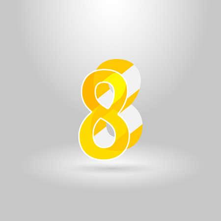eighth: Isometric Alphabet Font.Number 8.Vector illustration Illustration
