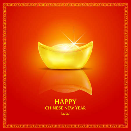 Chinese gold ingot.Chinese new year background.vector illustration