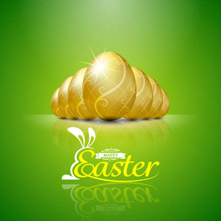 flown: Happy easter with golden eggs.Hand lettering.vector illustration Background