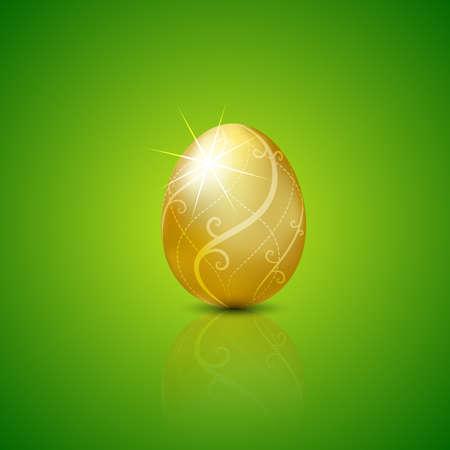 黄金の卵のイースター。ベクトル イラスト背景