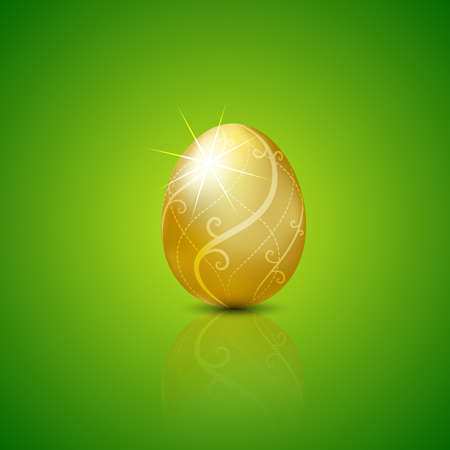 flown: Easter with golden egg.Vector illustration Background