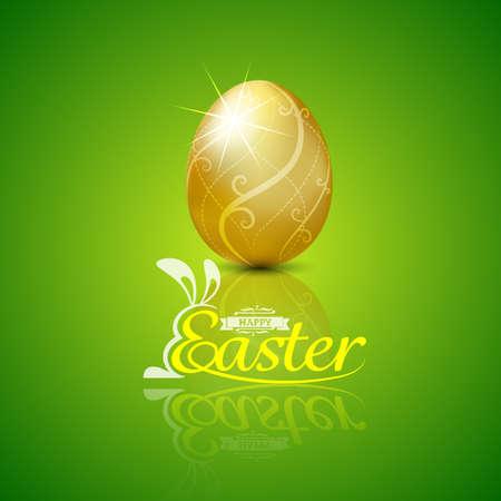 huevo blanco: Pascua feliz con egg.Hand golden ilustraci�n lettering.vector Antecedentes Vectores