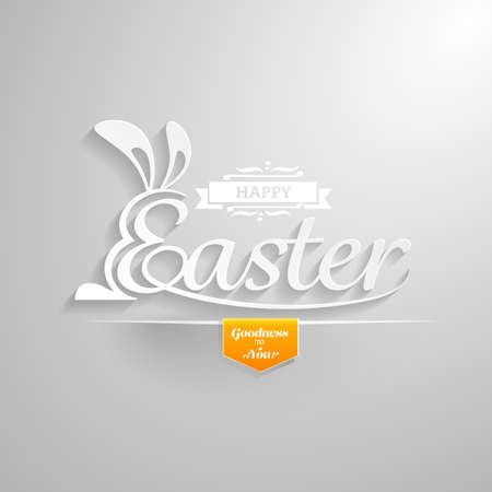 easter message: Happy Easter Greeting Card.Hand lettering.Vector illustration