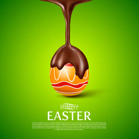 melted chocolate: Happy Easter.easter egg with melted chocolate. Illustration