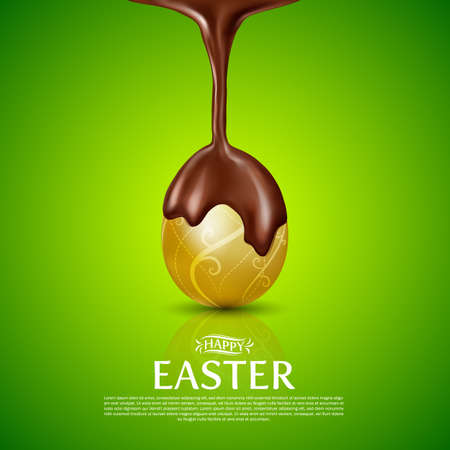 Happy Easter.Golden Egg and melted chocolate.