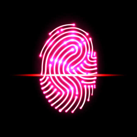 odcisk kciuka: Abstract Fingerprint scan.Letter P.identification and security system.vector illustration.