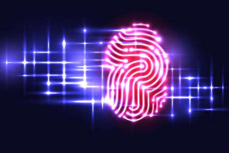 指紋認証技術の抽象的な背景。手紙 P.identification およびセキュリティ system.vector の図。