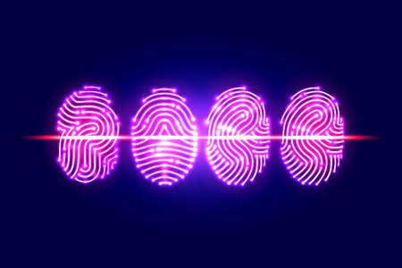 抽象的な指紋スキャン。Fingerprint.identification とセキュリティの system.vector イラストを渡します。