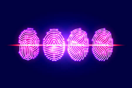 Abstract Fingerprint scan.PASS with fingerprint.identification and security system.vector illustration.