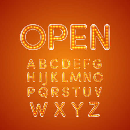 u  k: LED glowing font illuminated Capital letter A, B, C, D, E, F, G, H, I, J, K, L, M, N, O, P, Q, R, S, T, U, V, W, X, Y, Z. Vector illustration.