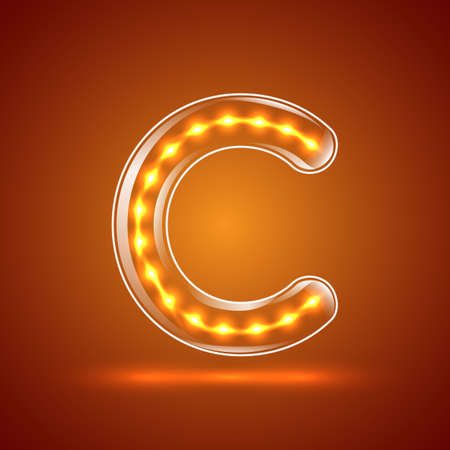 Glowing font.illuminated letters.Capital letter C.Vector illustration Vector