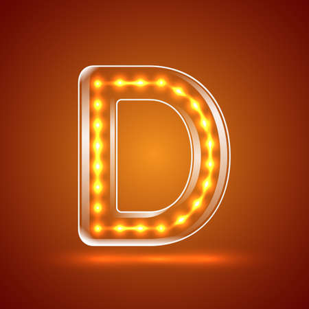 serif: Glowing font.illuminated letters.Capital letter D.Vector illustration