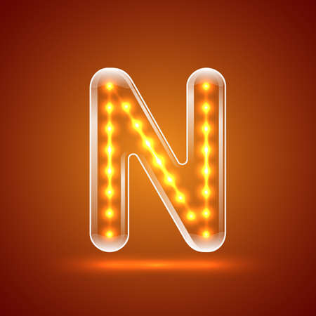 serif: Glowing font.illuminated letters.Capital letter N.Vector illustration Illustration