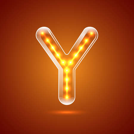 serif: Glowing font.illuminated letters.Capital letter Y.Vector illustration Illustration