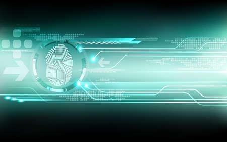 技術の背景を抽象化します。指紋セキュリティ システム概念文字 P に署名します。ベクトル図