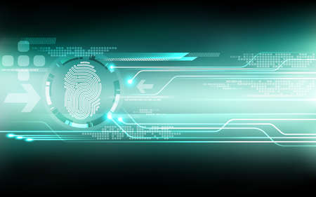Abstract technology background.Security system concept with fingerprint Letter P sign.Vector illustration Illustration