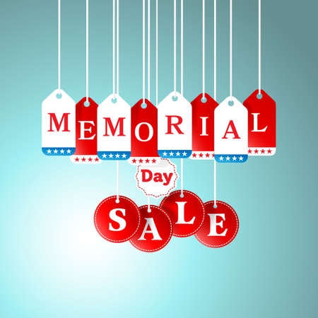 Memorial Day and Sale tag hanging in store for promotion and shopping concept.vector illustration Illustration