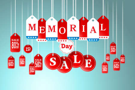 Memorial Day and Sale tag hanging in store for promotion and shopping concept.vector illustration Vectores