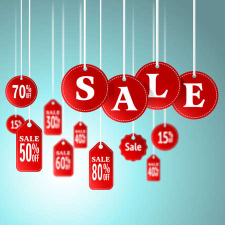 promotion: Sale signs and tag hanging in store for promotion shopping concept